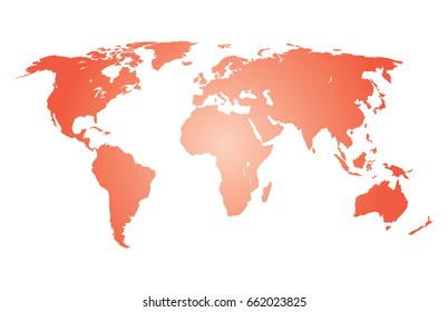 orange gradient world map vector isolated on white background. Best popular World map Vector template for website, design, cover, annual reports, info-graphics. Graph World map illustration.
