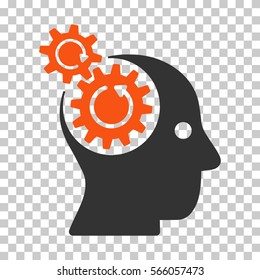 Orange And Gray Brain Gears Rotation interface toolbar pictogram. Vector pictogram style is a flat bicolor symbol on chess transparent background.