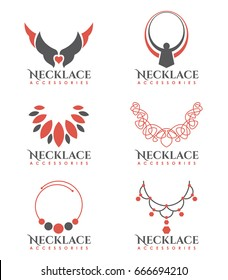 Orange and gray Necklace logo vector art set design