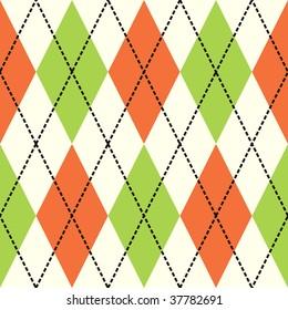 Orange and green argyle seamless background pattern