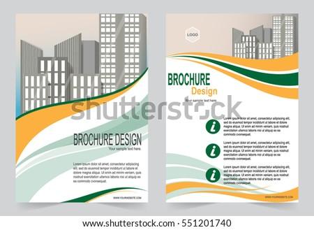 orange green brochure template flyer design stock vector royalty
