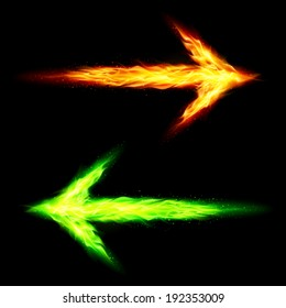 Orange and green fire arrows pointing in opposite directions on black background