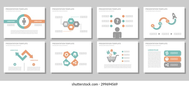 Orange and green multipurpose presentation template brochure flyer flat design set for marketing and advertising 3