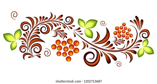 Orange and green ornament vector pattern in Russian hohloma style with red currant. Isolated.