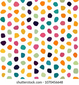 Orange, green, red, yellow, pink, goldenrod polka dot seamless pattern on white background. Round polygon texture. Abstract vector for prints, textile, wrapping, fabric, package, cover, greeting card