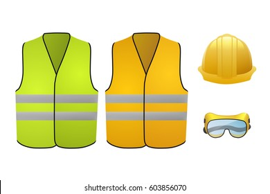 Orange and green safety vests. Safety equipment. Glasses and helmet. Vector Illustration isolated on white background