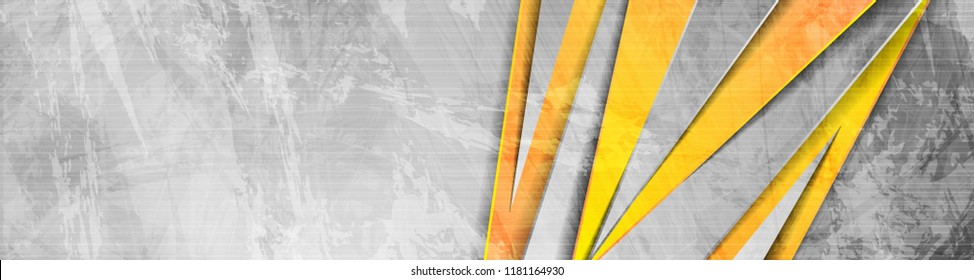 Orange and grey abstract grunge corporate banner header design. Vector background