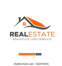 Orange and Grey Home Logo vector. Real estate logo template. Vector Illustration eps.10