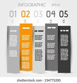 orange and grey zig zag column options. infographic concept.