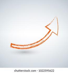 orange grunge arrow on a solid white background.