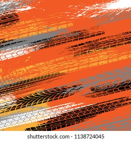 Orange grunge background with white, black and orange tire tracks