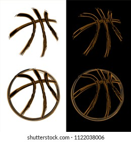 Orange grunge basketball outline silhouettes isolated on white and black silhouette