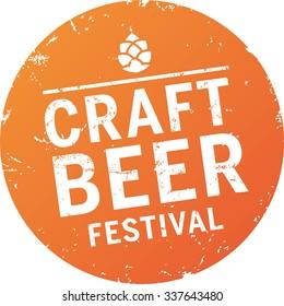 orange Grunge Button Craft Beer Festival