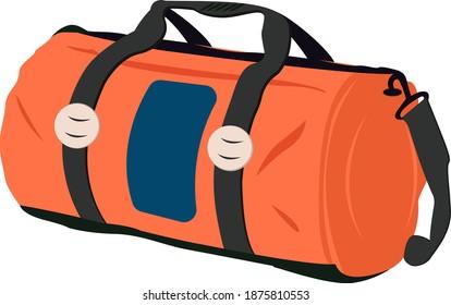 Orange Gym bag, illustration, vector on white background