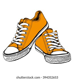 Orange gym shoes - by hand the drawn illustration. Vector art.