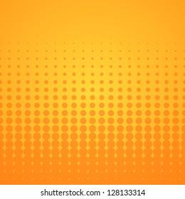 Orange Halftone Pattern - Bright disco background with orange spots on yellow