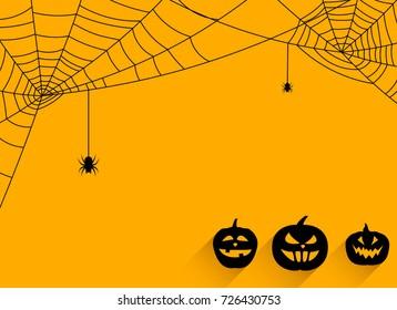 Orange halloween background with black pumpkin faces and spiderweb. Vector illustration.