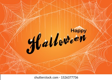 Orange Halloween background with white spiderweb. Letters hanging with spiderweb. Vector EPS10