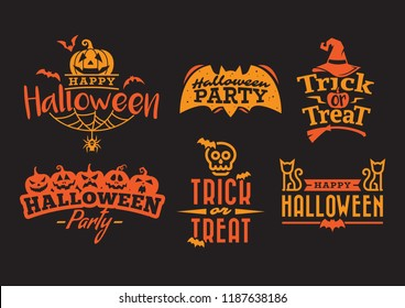orange halloween typography, label, badge