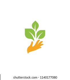 Orange hand with green leaves. Sprout, new life. Nature element logotype. Agricultural organic product sign. Harvesting vector illustration