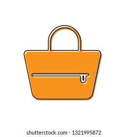 Orange Handbag icon isolated on white background. Female handbag sign. Glamour casual baggage symbol. Vector Illustration