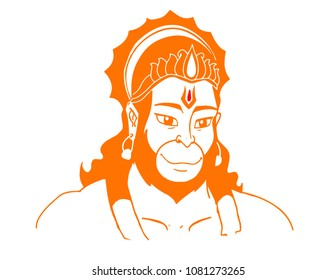 Orange hanuman vector illustrated art.