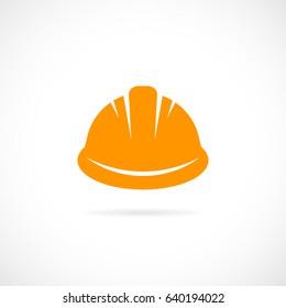 Orange hard hat vector eps icon on white background