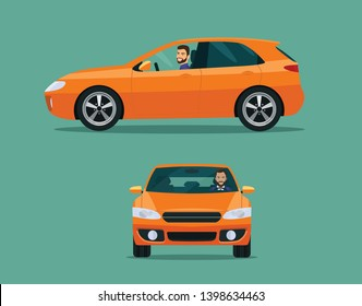 Orange hatchback car two angle set. Car with driver man side view  and front view. Vector flat style illustration