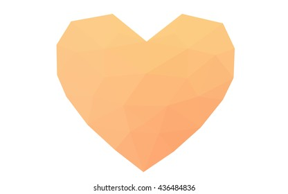 Orange heart isolated on white background. Geometric rumpled triangular low poly origami style gradient graphic illustration. Vector polygonal design for your business.
