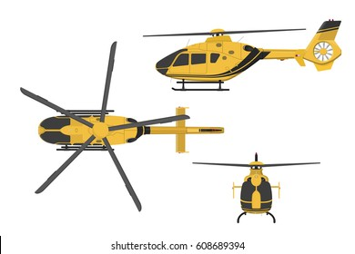 Orange helicopter on a white background. Side, front, top view. Vector illustration