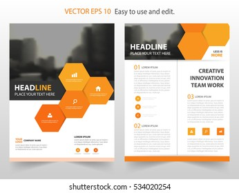 Orange hexagon Vector annual report Leaflet Brochure Flyer, book cover layout design, abstract business presentation template, a4 size