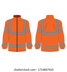 orangefarbene Außenjacke mit hoher Sichtbarkeit, einzeln auf weißem Hintergrund Vektorillustration