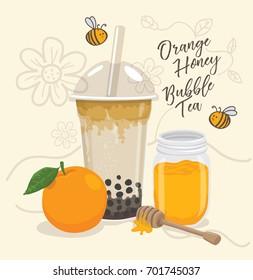 orange honey bubble tea vector