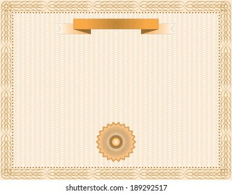 Orange horizontal certificate vector design.