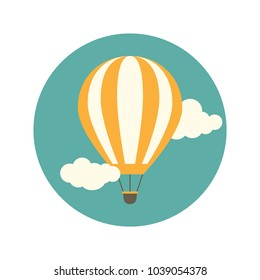 Orange hot air balloon flying in the turquoise sky with clouds. Flat cartoon design. Vector background.