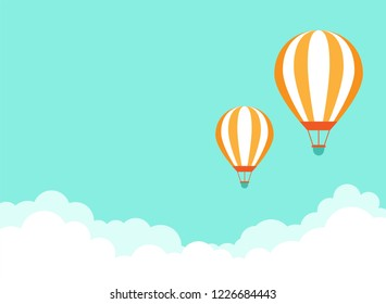 Orange hot air balloon flying in blue sky with clouds. Flat cartoon horizontal background. Vector background.