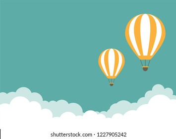 Orange hot air balloon flying in the turquoise sky with clouds. Flat cartoon horizontal background. Vector background.