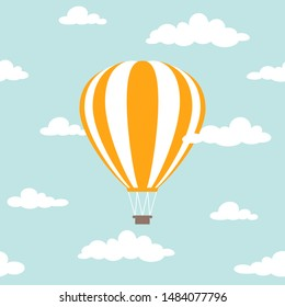 Orange hot air balloon flying in the powder blue sky with clouds. Flat cartoon design. Vector background.  Fantasy and freedom symbol.