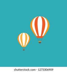 Orange hot air balloons flying in the blue sky. Flat cartoon design. Vector background.  Fantasy, creative, innovation, education symbol.