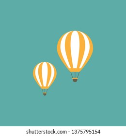 Orange hot air balloons flying in the turquoise sky. Flat cartoon design. Vector background.  Fantasy, creative, innovation, education symbol.