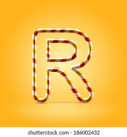 Orange hot caramel candy wire font capital letter R