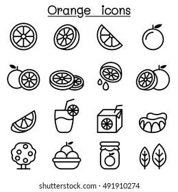 Orange icon set in thin line style