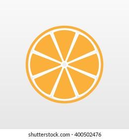 Orange icon. Slice vector isolated. Trendy natural symbol. Modern simple flat vegetarian sign. Fresh Food, internet concept. Trendy  lemon sign for web site. Logo illustration.