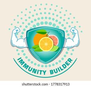 Orange Immunity builder or booster. Immune icon for food health info.