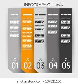 orange infographic five options notebook columns. infographic concept.