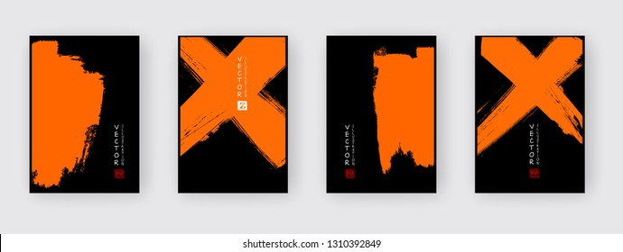 Orange ink brush stroke on black background. Japanese style. Vector illustration of grunge abstract stains.