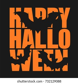 Orange inscription Halloween and bats. Greeting card. Vector illustration