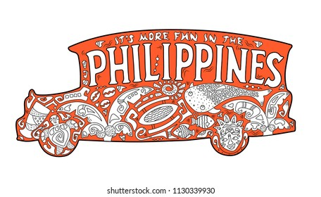 Orange jeepney with philippine ornament. Palm tree, whale shark, mask, turtle, halo-halo. Vector coloring page. Philippines postcard. Polynesian style motif. It's more fun in the Philippines lettering
