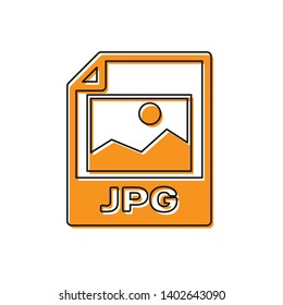 Orange JPG file document icon. Download image button icon isolated on white background. JPG file symbol. Vector Illustration