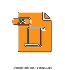 Orange JS file document. Download js button icon isolated on white background. JS file symbol.  Vector Illustration